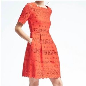 Banana Republic Orange Fit and Flare Dress NWT 2P